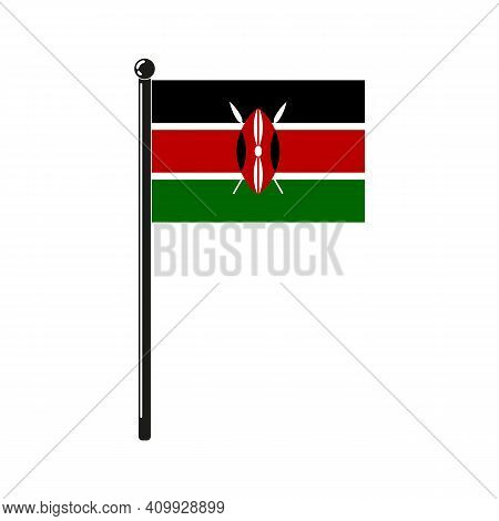 National Flag Of Kenya In The Original Colours And Proportions On The Stick