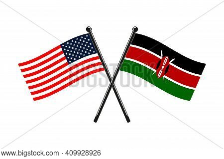 National Flags Of Kenya And Usa Crossed On The Sticks In The Original Colours