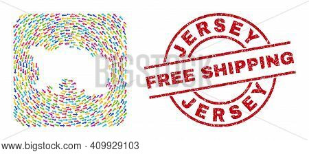 Vector Mosaic Jersey Island Map Of Swirl Arrows And Grunge Free Shipping Stamp. Mosaic Geographic Je