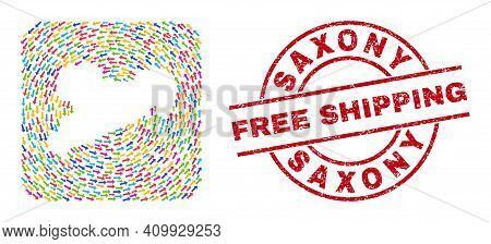 Vector Collage Saxony Land Map Of Motion Arrows And Grunge Free Shipping Badge. Collage Geographic S