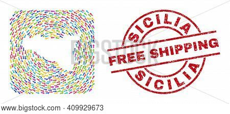 Vector Mosaic Sicilia Map Of Swirl Arrows And Rubber Free Shipping Badge. Mosaic Geographic Sicilia