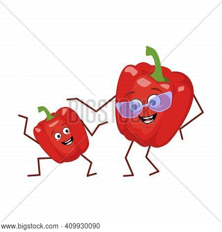 Cute Character Funny Grandmother And Grandson Bell Pepper Isolated On White Background. The Funny Or