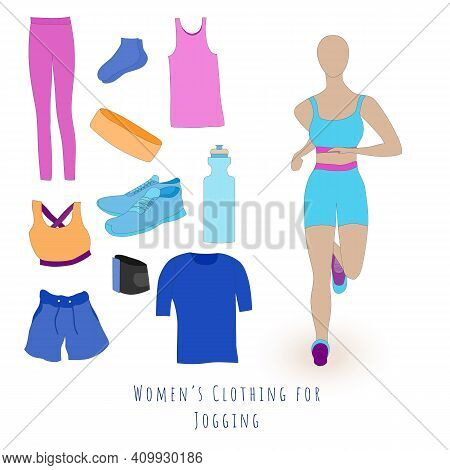 Set Of Clothes For A Summer Jogging For Women. Jogging Women In The Sport Outwear Running. Flat Vect