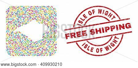 Vector Mosaic Isle Of Wight Map Of Pointer Arrows And Scratched Free Shipping Stamp. Mosaic Geograph