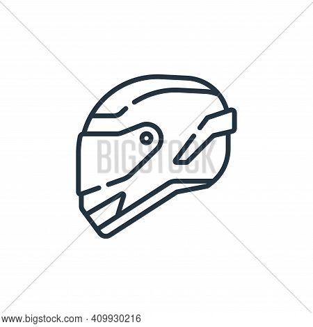 helmet icon isolated on white background from auto racing collection. helmet icon thin line outline