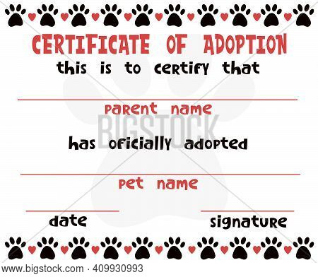 Pet Adoption Certificate Vector Template Design. Cat Or Dog Paw Border Frame With Hearts. Printable