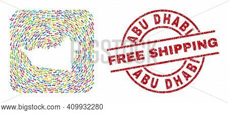 Vector Mosaic Abu Dhabi Emirate Map Of Delivery Arrows And Rubber Free Shipping Badge. Mosaic Geogra