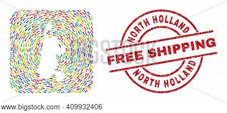 Vector Collage North Holland Map Of Swirl Arrows And Grunge Free Shipping Stamp. Mosaic Geographic N