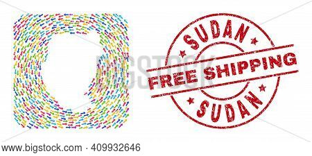 Vector Mosaic Sudan Map Of Delivery Arrows And Rubber Free Shipping Seal Stamp. Collage Geographic S