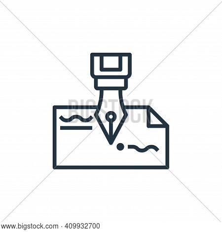 fountain pen icon isolated on white background from stationery collection. fountain pen icon thin li