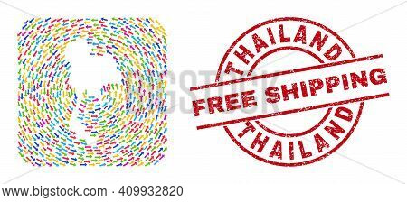 Vector Mosaic Thailand Map Of Delivery Arrows And Grunge Free Shipping Stamp. Mosaic Geographic Thai