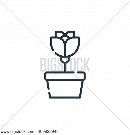 flower pot icon isolated on white background from hippies collection. flower pot icon thin line outl