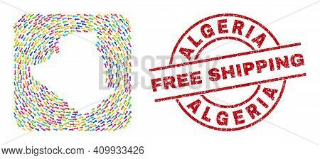 Vector Mosaic Algeria Map Of Swirl Arrows And Grunge Free Shipping Badge. Collage Geographic Algeria
