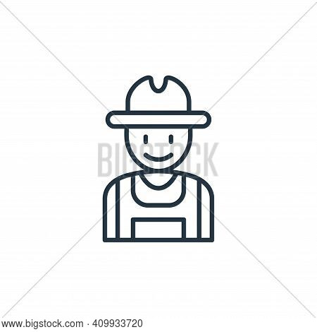 farmer icon isolated on white background from smart farm collection. farmer icon thin line outline l