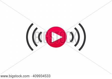 Live Streaming Icon. Button For Broadcasting, Livestream Or Online Stream. Template For Tv, Online C