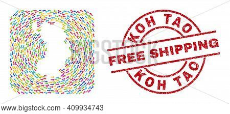 Vector Collage Koh Tao Map Of Movement Arrows And Scratched Free Shipping Seal. Mosaic Geographic Ko