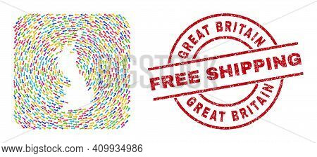 Vector Mosaic Great Britain Map Of Rotation Arrows And Rubber Free Shipping Stamp. Mosaic Geographic