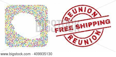 Vector Mosaic Reunion Island Map Of Delivery Arrows And Rubber Free Shipping Seal. Mosaic Geographic