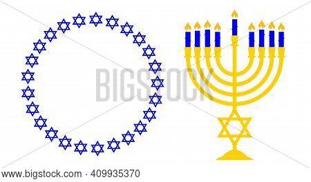 Menorah And A Round Frame Of The Stars Of David. Jewish Symbols.. Flat Vector Illustration Isolated