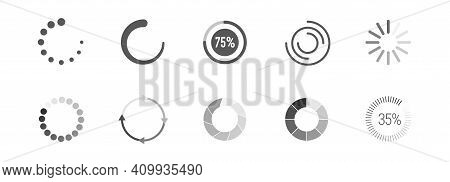 Round Circle Buffer Loader Or Preloader Icon Set. Flat Vector Illustration Isolated On White.