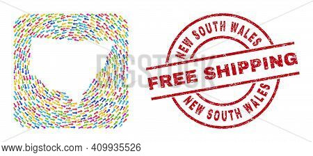 Vector Collage New South Wales Map Of Moving Arrows And Grunge Free Shipping Seal Stamp. Collage Geo