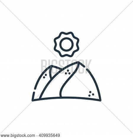 desert icon isolated on white background from climate change collection. desert icon thin line outli