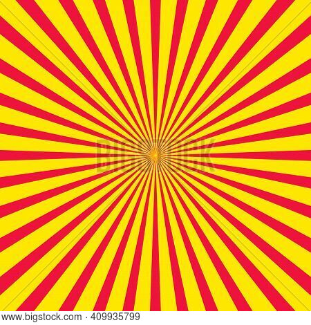 Retro Starburst, Sun Rays. Centric Red And Yellow Sunburst Vector Pattern, Sun Burst Retro Vintage T