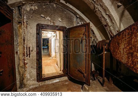 Dark Abandoned Soviet Bunker, Echo Of Cold War