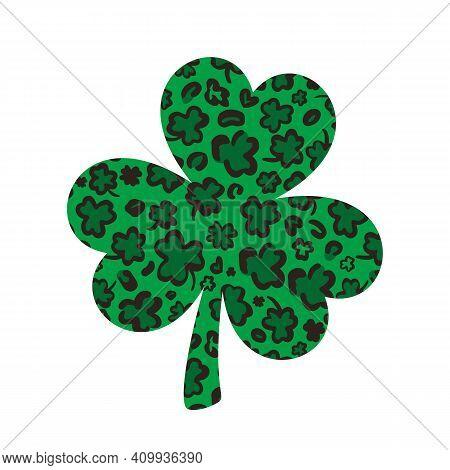 Shamrock Clover Leaf Made Of Leopard Or Jaguar Print. Saint Patricks Day Symbol. Vector Template For