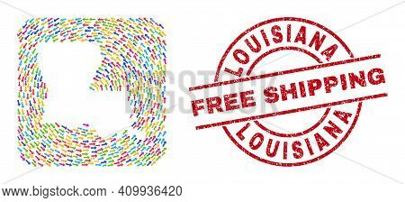 Vector Collage Louisiana State Map Of Pointer Arrows And Rubber Free Shipping Stamp. Collage Geograp