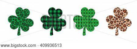 Set Of 4 Shamrock Or Clover Leaves Made Of Leopard Print, Buffalo Plaid, Arabesque Tile. Saint Patri