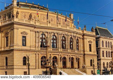 Neo-renaissance Building Rudolfinum Concert Hall, Home To The Czech Philharmonic Orchestra At Jan Pa