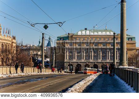 Neoclassical Building Faculty Of Liberal Arts, Charles University At Jan Palach Square, Manes Bridge