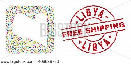 Vector Collage Libya Map Of Direction Arrows And Scratched Free Shipping Badge. Collage Geographic L