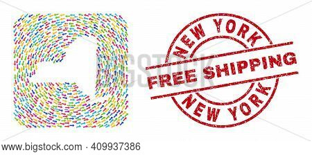 Vector Mosaic New York State Map Of Navigation Arrows And Rubber Free Shipping Seal Stamp. Mosaic Ge
