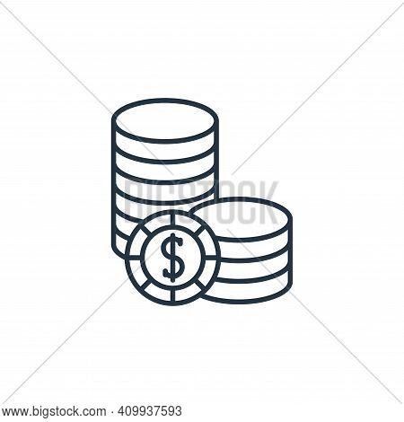 coins icon isolated on white background from casino collection. coins icon thin line outline linear