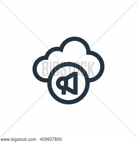 cloud icon isolated on white background from advertisement collection. cloud icon thin line outline