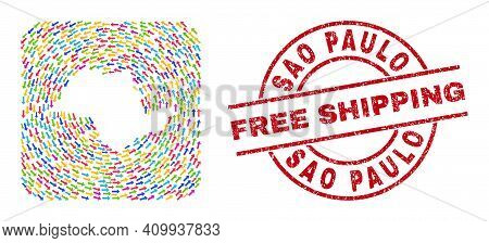 Vector Mosaic Sao Paulo State Map Of Swirl Arrows And Grunge Free Shipping Stamp. Mosaic Geographic