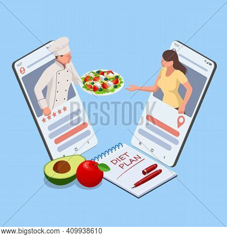 Isometric Healthy Food And Diet Planning Concept. Healthy Eating, Personal Diet Or Nutrition Plan Fr