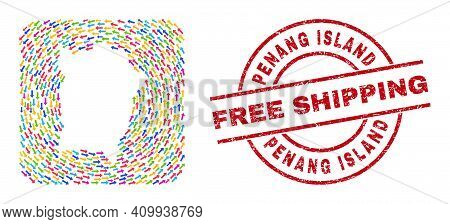 Vector Collage Penang Island Map Of Migration Arrows And Rubber Free Shipping Seal. Collage Geograph