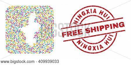 Vector Mosaic Ningxia Hui Region Map Of Rotation Arrows And Rubber Free Shipping Seal. Mosaic Geogra