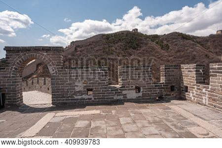 Beijing, China - April 28, 2010: Great Wall Of China. Gray Stone Lookout Platform On Top Of Watchtow
