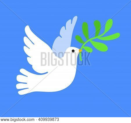 White Dove In Flight Holding An Olive Branch. Concept Of Peace. Vector Illustration On Blue Backgrou
