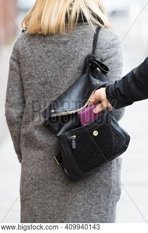 Thief Pickpocket Robbery. Wallet Pick From Pocket