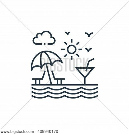 beach icon isolated on white background from tourism collection. beach icon thin line outline linear