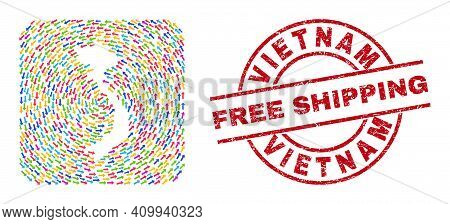 Vector Mosaic Vietnam Map Of Delivery Arrows And Scratched Free Shipping Seal Stamp. Mosaic Geograph