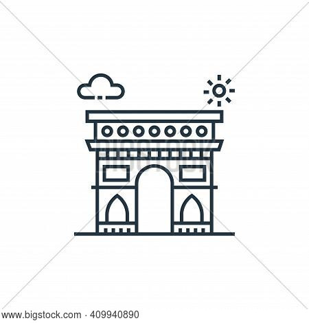 arc de triomphe icon isolated on white background from tourism collection. arc de triomphe icon thin