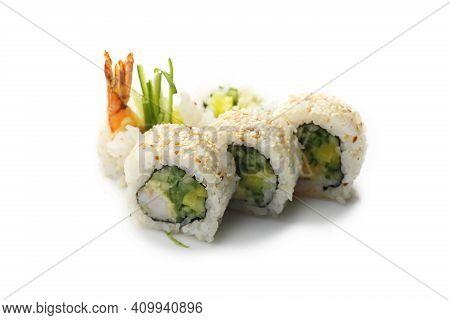 Uramaki Rolls With Tempura Shrimps, Cucumber And Pickled Raddish, Isolated On White.