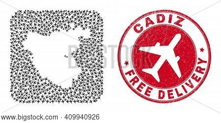 Vector Collage Cadiz Province Map Of Air Plane Elements And Grunge Free Delivery Badge. Mosaic Geogr