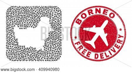 Vector Mosaic Borneo Map Of Aircraft Items And Grunge Free Delivery Stamp. Mosaic Geographic Borneo